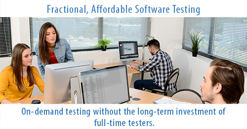 group of software testers testing on computers